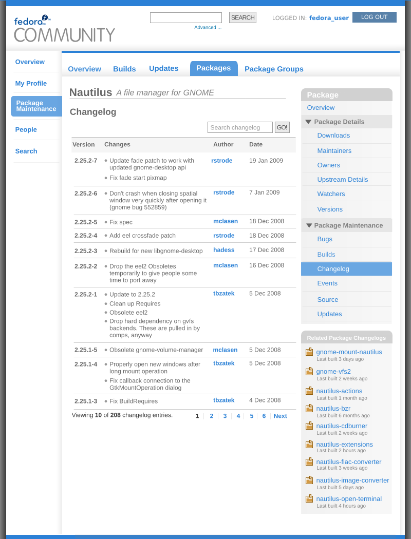 Myfedora-packagedetails-changelogs-mock1.png
