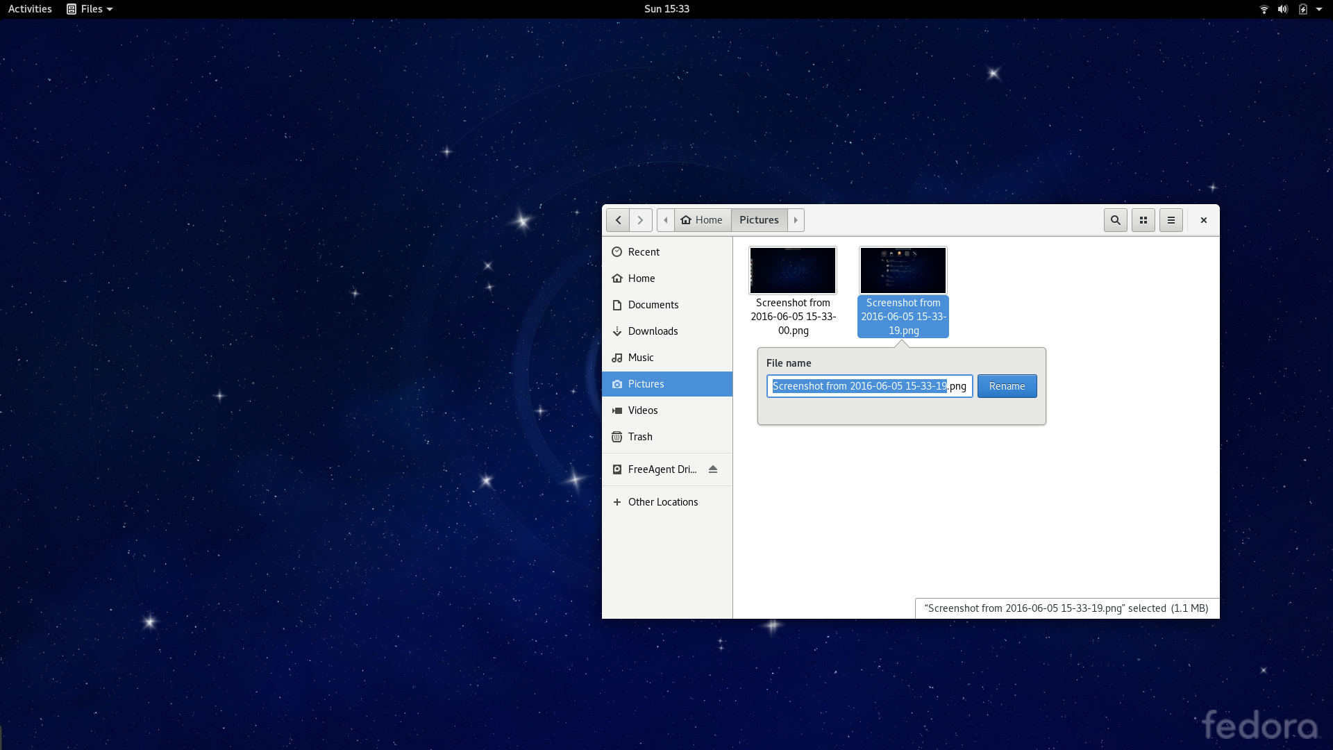 Screenshot of Fedora 24 Workstation