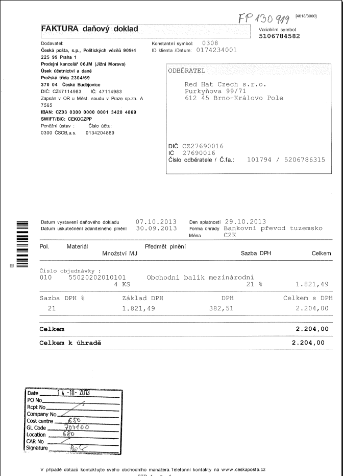 Czech Post Invoice - Sept 2