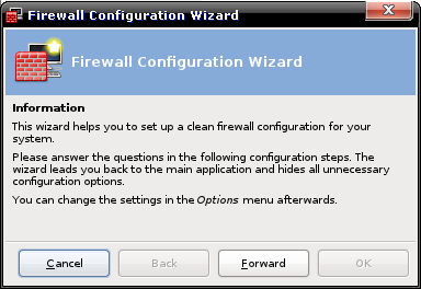 Firewall Wizard : welcome screen