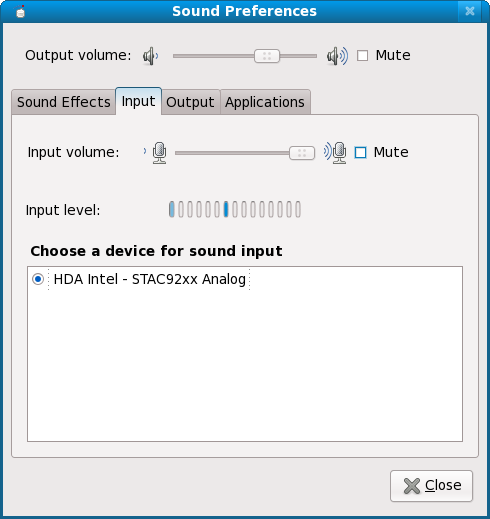 Sound preferences, second tab