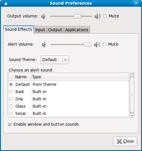 Sound preferences, first tab