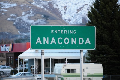 Entering Anaconda, Montana.  A city probably named after this installation program.